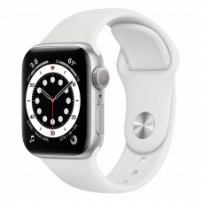 Apple Watch S6 40mm Silver Aluminum Case / White Sport Band
