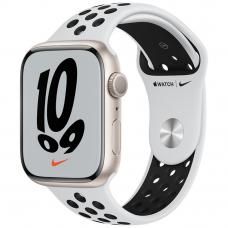 Apple Watch S7 NIKE 45mm Starlight Aluminum Case / Platinum/Black Nike Sport Band
