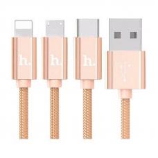 Кабель USB - Lightning + MicroUSB + Type C / HOCO X2 / 1M