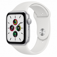 Apple Watch SE 44mm Silver Aluminum Case / White Sport Band